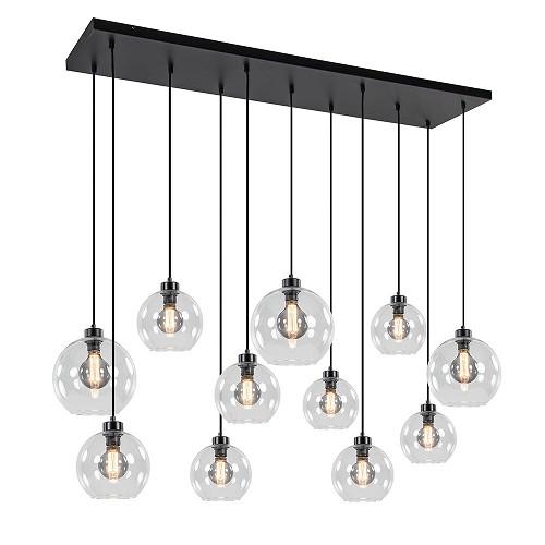 Grote hanglamp zwart 11- lichts helder glas