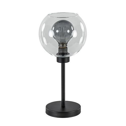 Zwarte tafellamp met helder glazen kap