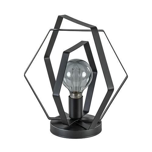 Zwart metalen tafellamp hexagon