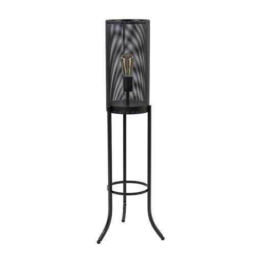 Driepoot vloerlamp cilinder mat zwart metaal