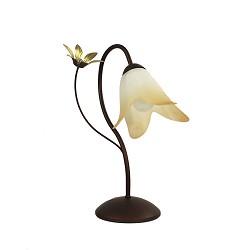 *Klassieke tafellamp bruin met bloem
