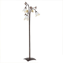 Klassieke vloerlamp bruin met bloemen