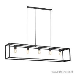 Grote eettafel hanglamp zwart balk frame