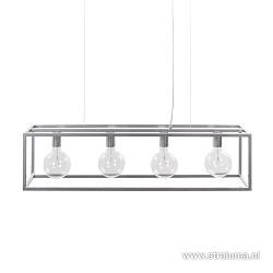 Eettafel hanglamp balk zilver open frame