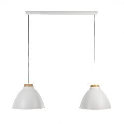 Eettafel hanglamp wit met twee kappen