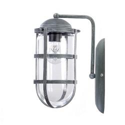 Betonlook wandlamp met korf en glas
