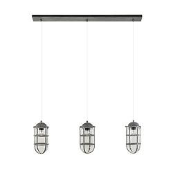 *Industrie kooi hanglamp beton 3-lichts