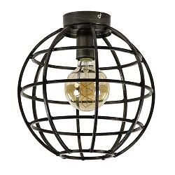 Donkere metalen plafondlamp globe