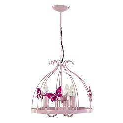 *Roze hanglamp kroon met vlinder