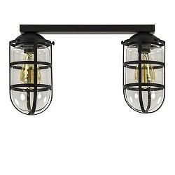 *2-lichts Kooi-Plafondlamp zwart glas
