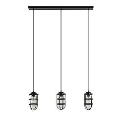 Industriële hanglamp 3-lichts zwart