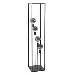 Strakke zwarte vloerlamp frame 4-lichts