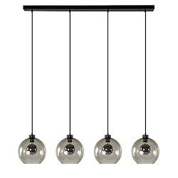 4-lichts eettafelhanglamp glas smoke
