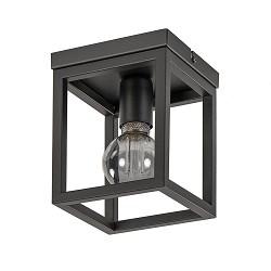 Plafondlamp vierkant frame klein zwart