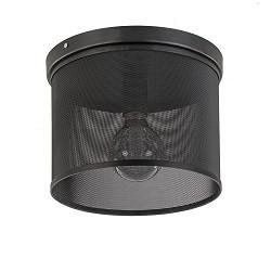 Metalen plafondlamp rond zwart met gaas