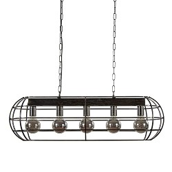 Stoere eettafelhanglamp metalen kooi