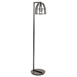 Antiek zwarte vloerlamp met korfkap