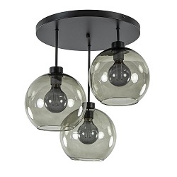 Plafondlamp 3-lichts zwart + smoke glas 25cm