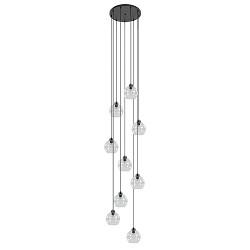 Hanglamp vide zwart 9-lichts met helder glas