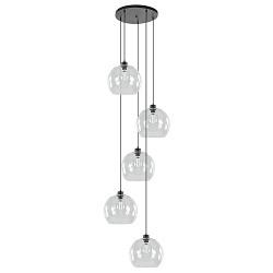 Videlamp zwart met 5 helder glazen bollen