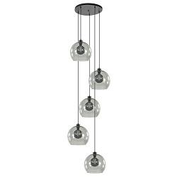Smoke glazen 5-lichts videlamp met zwarte plaat