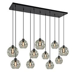Hanglamp plaat 11-L zwart smoke glas 20+25cm