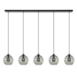 Grote 5-lichts eettafelhanglamp met smoke glazen kappen