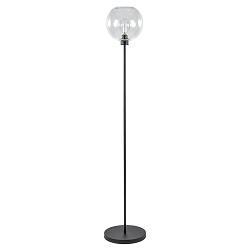 Moderne vloerlamp zwart met helder glazen kap