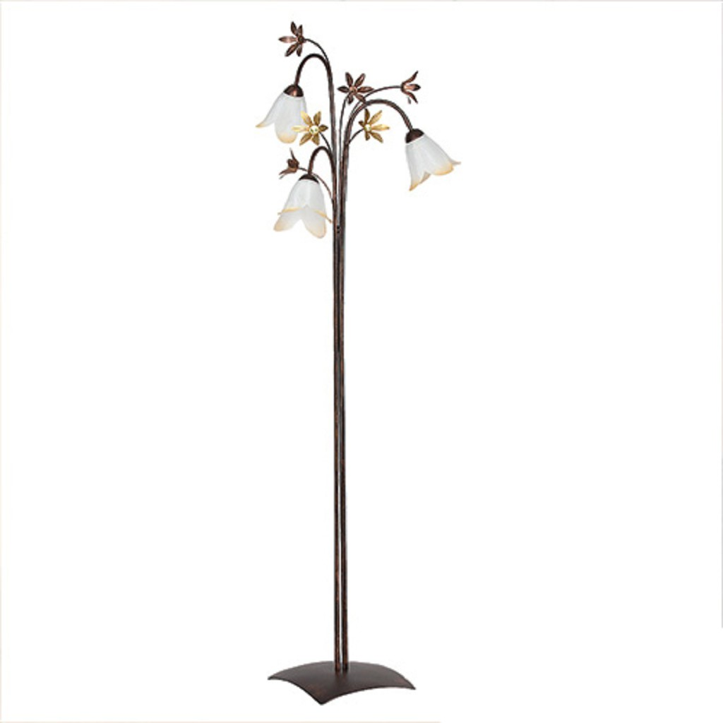 *Klassieke vloerlamp bruin met bloemen