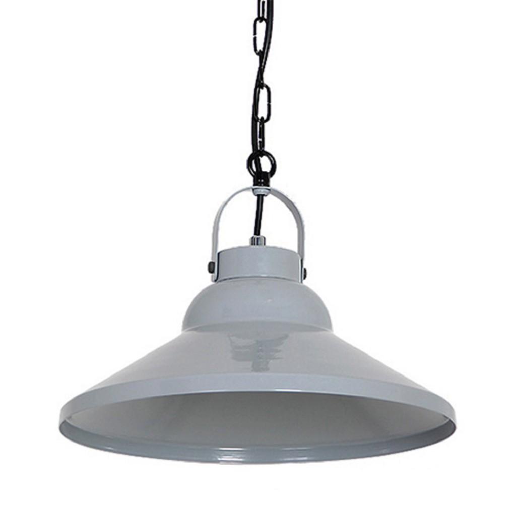 *Kleine grijze hanglamp metaal keuken