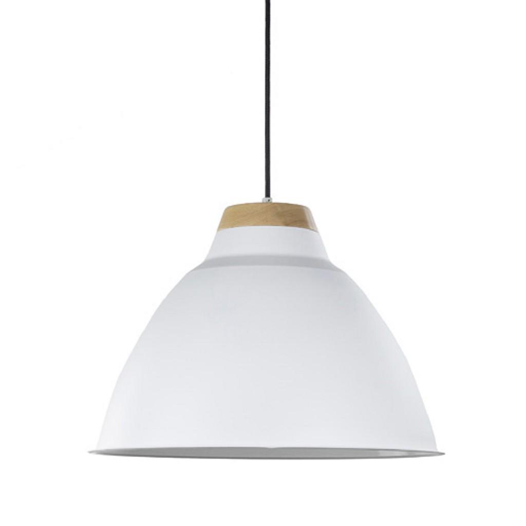 Industriele hanglamp wit met hout