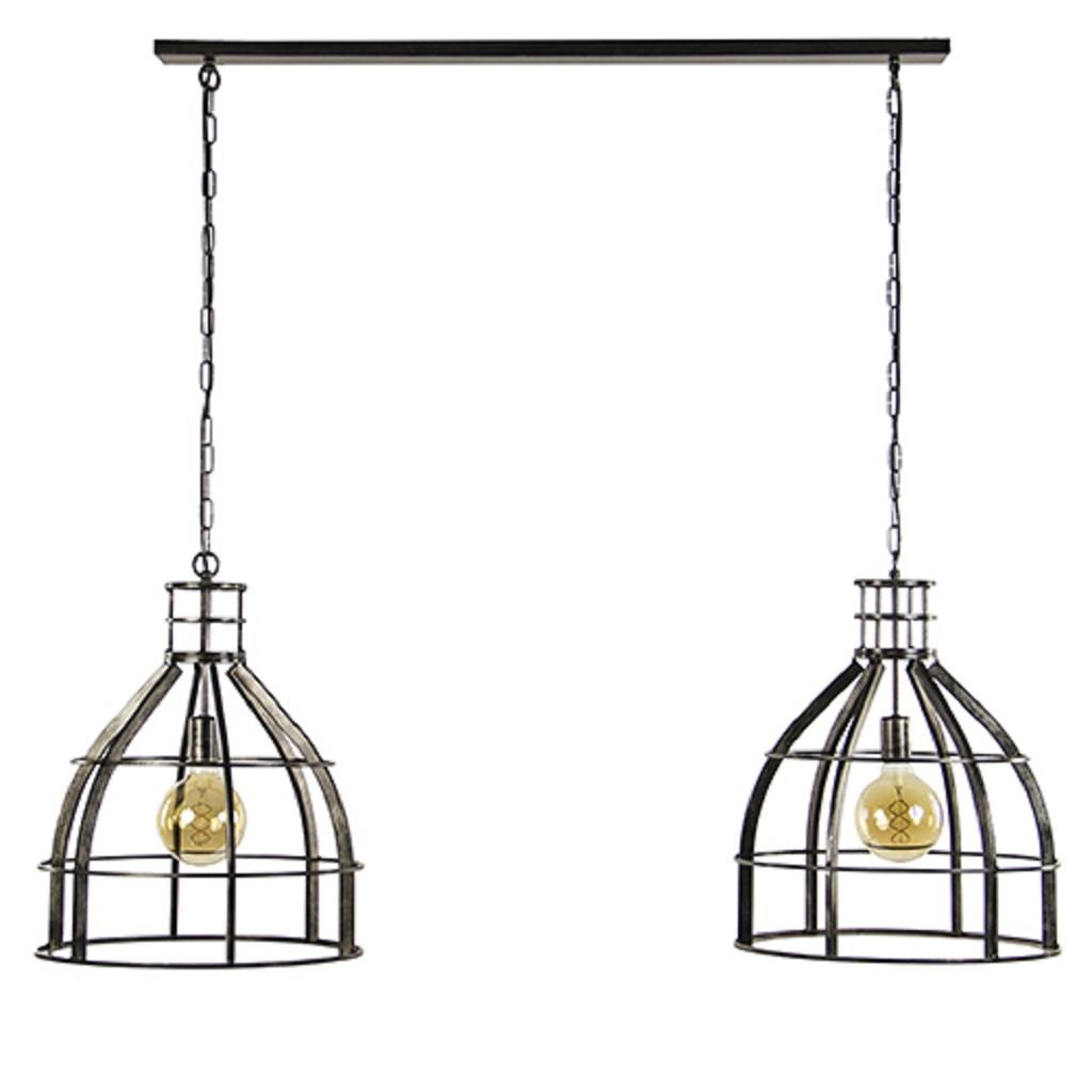 Grote metalen eettafelhanglamp 2-lichts