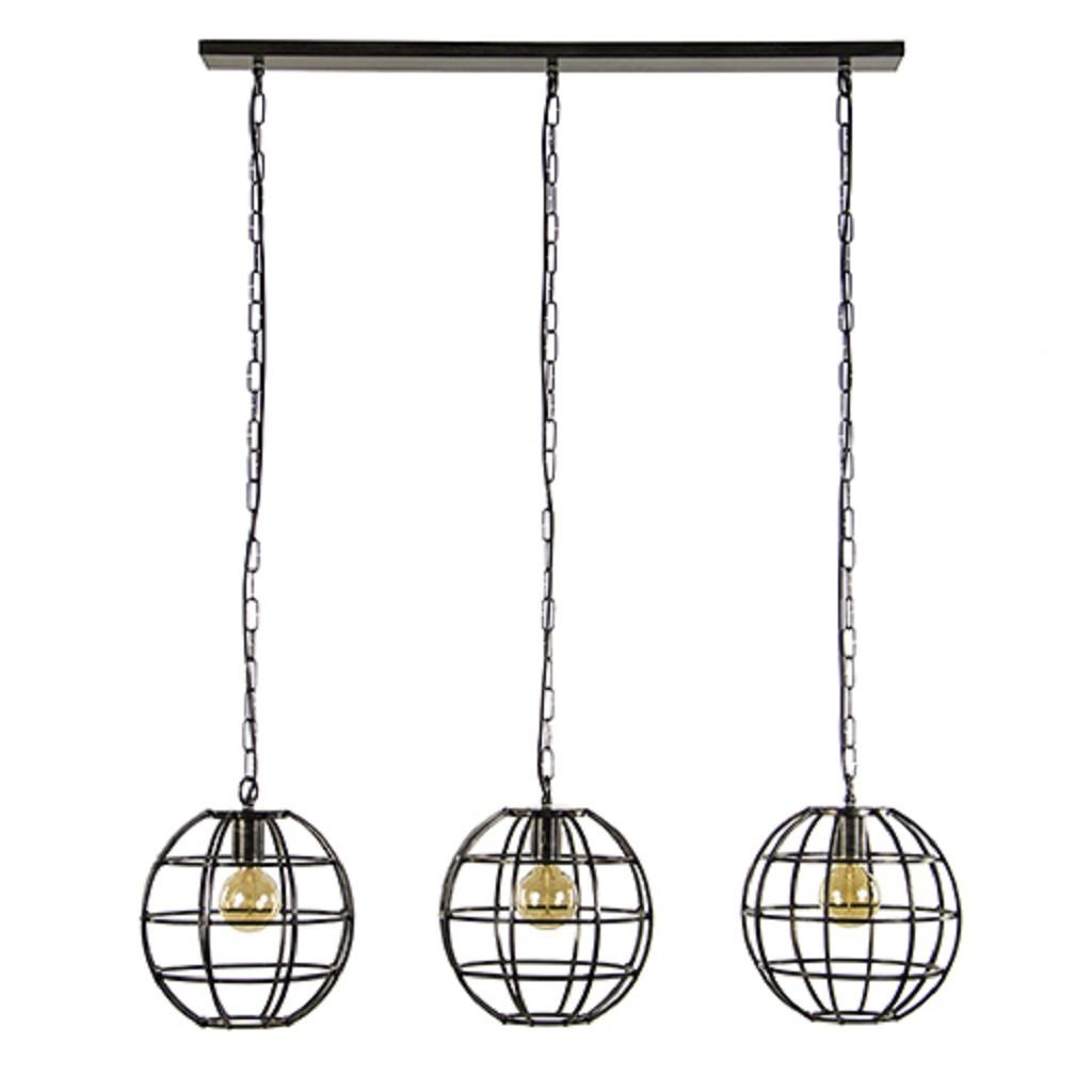 Eettafel hanglamp 3-lichts globe metaal