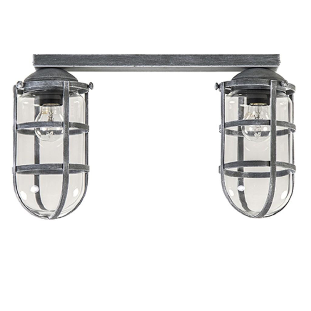 Plafondlamp Kooi beton glas 2-lichts