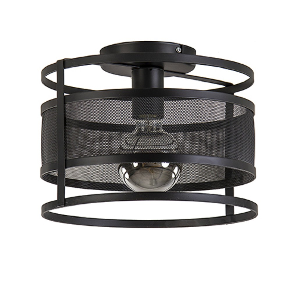 Plafondlamp cilinder geperforeerd zwart