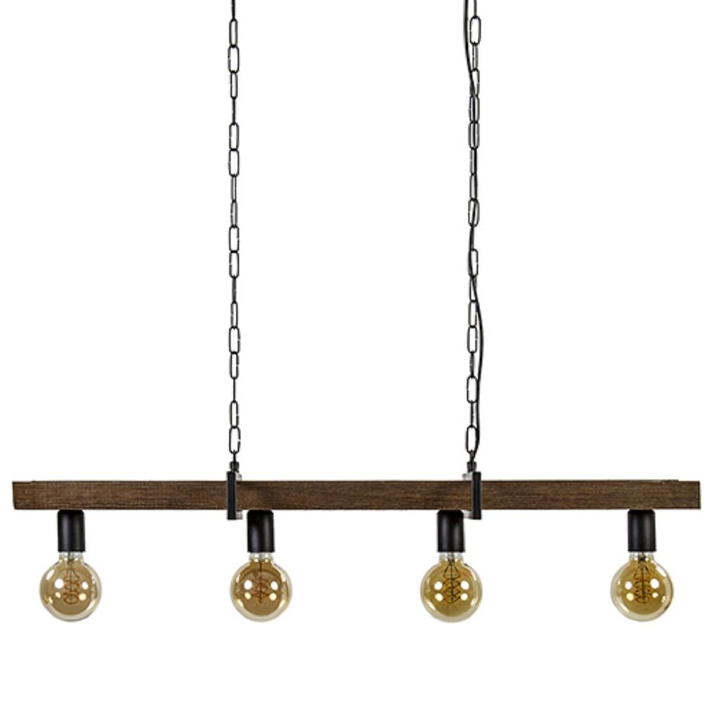 Eettafelhanglamp houten balk landelijk