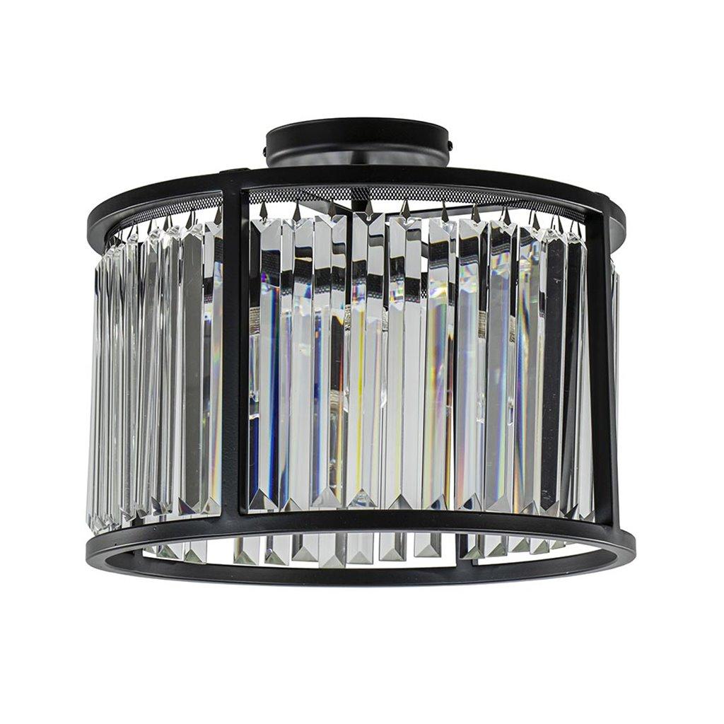 Mat zwarte plafondlamp cilinder met kristallen pegels