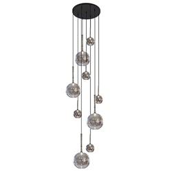 Grote vide hanglamp smoke glas 9-lichts