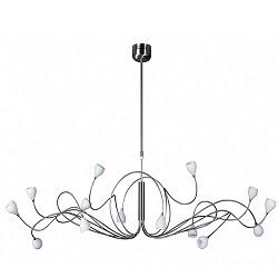 Hanglamp gekruld nikkel met wit glas