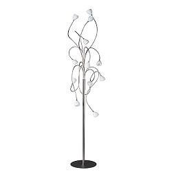 Vloerlamp gekruld nikkel met wit glas