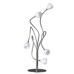 Tafellamp gekruld nikkel met wit glas
