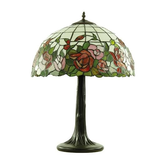 Tafellamp Tiffany, brons glas in lood