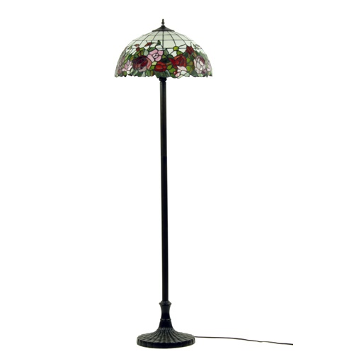 Vloerlamp Tiffany glas in lood roos