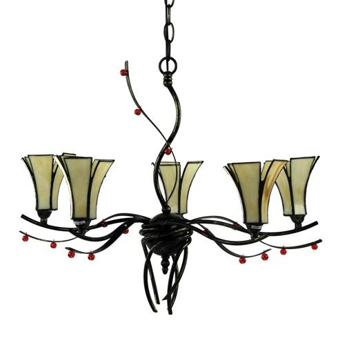Hanglamp Tiffany glas in lood eettafel