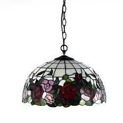 * Hanglamp Tiffany glas in lood roos