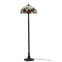 * Vloerlamp Tiffany glas in lood roos