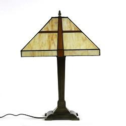 *Tafellamp Tiffany glas in lood bruin