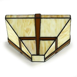 *Tiffany wandlamp, brons glas in lood