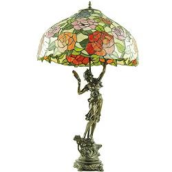 Tiffany tafellamp met beeld en roos