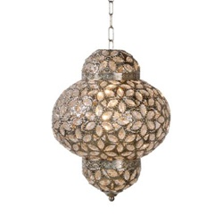 Oosterse hanglamp Djerba lantaarn zilver